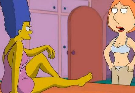 Marge Simpson y Lois Griffin en escena lesbica xxx