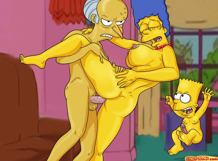 Marge Simpsons pillada follando con Burns